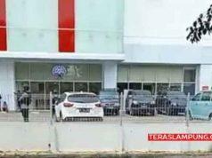 Pengamanan di Transmart Lampung di Jl Sultan Agung Bandarlampung, Selasa sore pukul 14.50 WIB (15/5/2018).