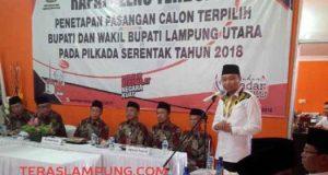 Bupati Agung Ilmu Mangkunegara menyampaikan sambutannya usai ditetapkan sebagai pemenang dalam Pilbup tahun 2018