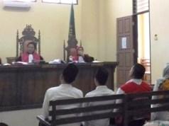 Mantan Kalapas Kelas II B Kalianda, Lampung Selatan, Muchlis Adjie, dalam sidang di PN Tanjungkarang, Senin (15/10/2018).