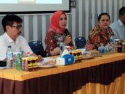 Ny.Partinia saat menyampaikan sambutan pada rapat perdana TIM GLD Lambar di Aula RS Bunda, Rabu 21 November 2018.