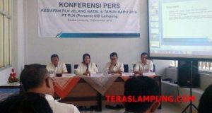 General Manager PT PLN (Persero) Unit Induk Distribusi Lampung, Julita Indah, menjelaskan kondisi kelistrikan di Lampung selama masa Natal 2018 dan Tahun Baru 2019.