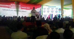 Menteri Desa PDTT, Eko Putra Sandjojo, pada acara sosialisasi penggunaan dana desa 2019 di Balai Latihan Masyarakat Desa Provinsi Bengkulu, hari Rabu (6/2/2019).
