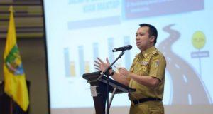 Gubernur Lampung, Ridho Ficardo, memberikan sambutan pada Musrenbang RKPD 2019, Selasa, 26 Maret 2019.