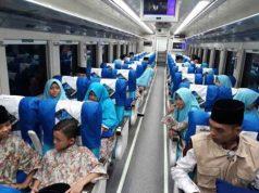 Interior Kereta Api Sriwijaya baru jurusan Tanjungkarang-Kertapati.