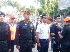 Upacara Apel Gelar Pasukan Angkutan Lebaran 2019 di Stasiun Kereta Tanjungkarang, Minggu (26/5/319)