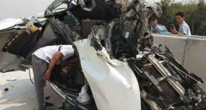 Kondisi mobil Avanza yang dikemudian jaksa Fransisca setelah menabrak truk fuso di ruas tol Gunungsugih, Lampung Tengah, Kamis pagi (21/11/2019.