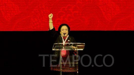 Ketua Umum PDIP Megawati Soekarnoputri menyampaikan sambutan dalam Rakernas I PDIP di JI Expo Kemayoran, Jakarta, Jumat, 10 Januari 2020. TEMPO/M Taufan Rengganis
