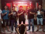 Tersangka kasus penodongan dibekuk petugas Polres Tanggamus, Rabu (1/4/2020).