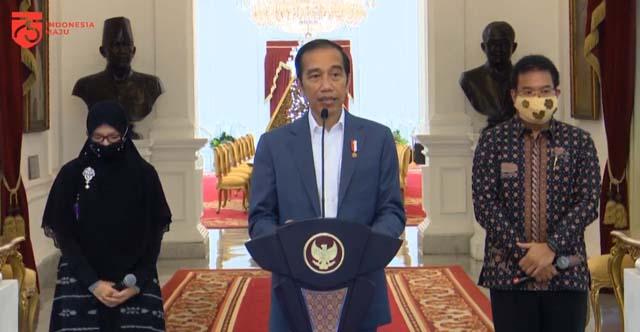 Presiden saat memberikan keterangan mengenai Penjelasan Zona Daerah Terkait Covid-19, Istana Merdeka, Provinsi DKI Jakarta, Rabu (24/6).