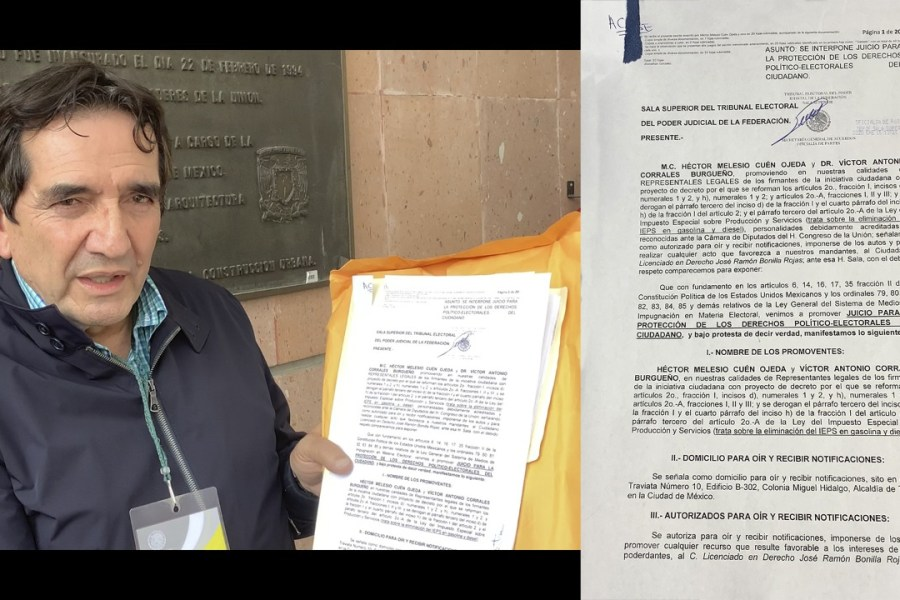 Se presenta Héctor Melesio Cuén Ojeda en el Tribunal Electoral del Poder Judicial de la Federación