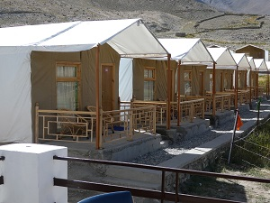 Glamping tents at Pangong Lake