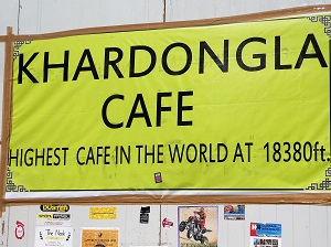 Cafe sign at Khardung La Pass