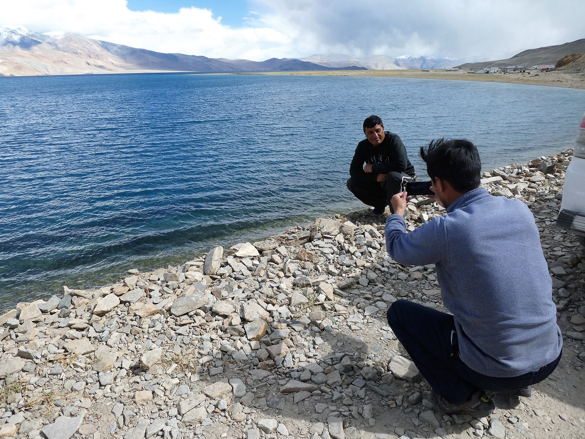 Suresh and Konchok on the edge of Tsomoriri Lake, Ladakh, India