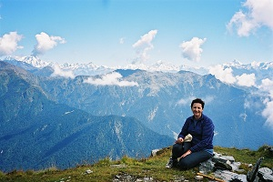 With the high Himalayas as my backdrop I sit above the Chopta Forest and Tungnath temple Indian Himalayas 2003