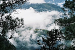 Misty mountains in the Himalayas from Joshimath India 2006