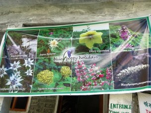 A colourful banner above the door to the pay station at the entrance to the Valley of Flowers, Himalayan India