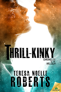 Book Cover for Thrill-Kinky: embracing heterosexual cover with an overlay of stars