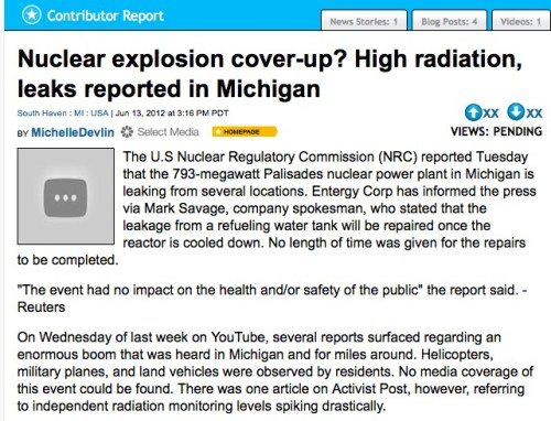 Nuclear explosion cover-up? High radiation, leaks reported in Michigan