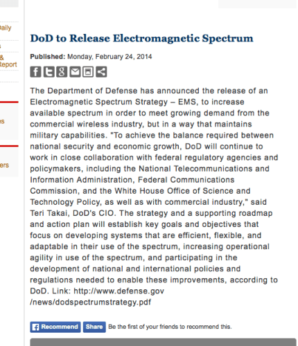 DOD to release electromagnetic spectrum