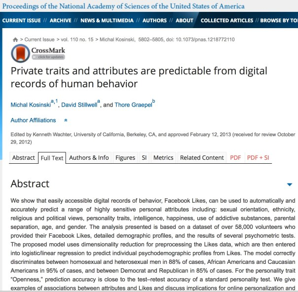 "Private traits and attributes are predictable from digital records of human behavior      Michal Kosinskia,1, David Stillwella, and Thore Graepelb   Author Affiliations      Edited by Kenneth Wachter, University of California, Berkeley, CA, and approved February 12, 2013 (received for review October 29, 2012)      Abstract     Full Text     Authors & Info     Figures     SI     Metrics     Related Content     PDF     PDF + SI    Next Section Abstract  We show that easily accessible digital records of behavior, Facebook Likes, can be used to automatically and accurately predict a range of highly sensitive personal attributes including: sexual orientation, ethnicity, religious and political views, personality traits, intelligence, happiness, use of addictive substances, parental separation, age, and gender. The analysis presented is based on a dataset of over 58,000 volunteers who provided their Facebook Likes, detailed demographic profiles, and the results of several psychometric tests. The proposed model uses dimensionality reduction for preprocessing the Likes data, which are then entered into logistic/linear regression to predict individual psychodemographic profiles from Likes. The model correctly discriminates between homosexual and heterosexual men in 88% of cases, African Americans and Caucasian Americans in 95% of cases, and between Democrat and Republican in 85% of cases. For the personality trait ""Openness,"" prediction accuracy is close to the test–retest accuracy of a standard personality test. We give examples of associations between attributes and Likes and discuss implications for online personalization and privacy.      social networks computational social science machine learning big data data mining psychological assessment   A growing proportion of human activities, such as social interactions, entertainment, shopping, and gathering information, are now mediated by digital services and devices. Such digitally mediated behaviors can easily be recorded and analyzed, fueling the emergence of computational social science (1) and new services such as personalized search engines, recommender systems (2), and targeted online marketing (3). However, the widespread availability of extensive records of individual behavior, together with the desire to learn more about customers and citizens, presents serious challenges related to privacy and data ownership (4, 5).  We distinguish between data that are actually recorded and information that can be statistically predicted from such records. People may choose not to reveal certain pieces of information about their lives, such as their sexual orientation or age, and yet this information might be predicted in a statistical sense from other aspects of their lives that they do reveal. For example, a major US retail network used customer shopping records to predict pregnancies of its female customers and send them well-timed and well-targeted offers (6). In some contexts, an unexpected flood of vouchers for prenatal vitamins and maternity clothing may be welcome, but it could also lead to a tragic outcome, e.g., by revealing (or incorrectly suggesting) a pregnancy of an unmarried woman to her family in a culture where this is unacceptable (7). As this example shows, predicting personal information to improve products, services, and targeting can also lead to dangerous invasions of privacy.  Predicting individual traits and attributes based on various cues, such as samples of written text (8), answers to a psychometric test (9), or the appearance of spaces people inhabit (10), has a long history. Human migration to digital environment renders it possible to base such predictions on digital records of human behavior. It has been shown that age, gender, occupation, education level, and even personality can be predicted from people's Web site browsing logs (11⇓⇓⇓–15). Similarly, it has been shown that personality can be predicted based on the contents of personal Web sites (16), music collections (17), properties of Facebook or Twitter profiles such as the number of friends or the density of friendship networks (18⇓⇓–21), or language used by their users (22). Furthermore, location within a friendship network at Facebook was shown to be predictive of sexual orientation (23).  This study demonstrates the degree to which relatively basic digital records of human behavior can be used to automatically and accurately estimate a wide range of personal attributes that people would typically assume to be private. The study is based on Facebook Likes, a mechanism used by Facebook users to express their positive association with (or ""Like"") online content, such as photos, friends' status updates, Facebook pages of products, sports, musicians, books, restaurants, or popular Web sites. Likes represent a very generic class of digital records, similar to Web search queries, Web browsing histories, and credit card purchases. For example, observing users' Likes related to music provides similar information to observing records of songs listened to online, songs and artists searched for using a Web search engine, or subscriptions to related Twitter channels. In contrast to these other sources of information, Facebook Likes are unusual in that they are currently publicly available by default. However, those other digital records are still available to numerous parties (e.g., governments, developers of Web browsers, search engines, or Facebook applications), and, hence, similar predictions are unlikely to be limited to the Facebook environment.  The design of the study is presented in Fig. 1. We selected traits and attributes that reveal how accurate and potentially intrusive such a predictive analysis can be, including ""sexual orientation,"" ""ethnic origin,"" ""political views,"" ""religion,"" ""personality,"" ""intelligence,"" ""satisfaction with life"" (SWL), substance use (""alcohol,"" ""drugs,"" ""cigarettes""), ""whether an individual's parents stayed together until the individual was 21 y old,"" and basic demographic attributes such as ""age,"" ""gender,"" ""relationship status,"" and ""size and density of the friendship network."" Five Factor Model (9) personality scores (n = 54,373) were established using the International Personality Item Pool (IPIP) questionnaire with 20 items (25). Intelligence (n = 1,350) was measured using Raven's Standard Progressive Matrices (SPM) (26), and SWL (n = 2,340) was measured using the SWL Scale (27). Age (n = 52,700; average, µ = 25.6; SD = 10), gender (n = 57,505; 62% female), relationship status (""single""/""in relationship""; n = 46,027; 49% single), political views (""Liberal""/""Conservative""; n = 9,752; 65% Liberal), religion (""Muslim""/""Christian""; n = 18,833; 90% Christian), and the Facebook social network information [n = 17,601; median size, Graphic = 204; interquartile range (IQR), 206; median density, Graphic = 0.03; IQR, 0.03] were obtained from users' Facebook profiles. Users' consumption of alcohol (n = 1,196; 50% drink), drugs (n = 856; 21% take drugs), and cigarettes (n = 1211; 30% smoke) and whether a user's parents stayed together until the user was 21 y old (n = 766; 56% stayed together) were recorded using online surveys. Visual inspection of profile pictures was used to assign ethnic origin to a randomly selected subsample of users (n = 7,000; 73% Caucasian; 14% African American; 13% others). Sexual orientation was assigned using the Facebook profile ""Interested in"" field; users interested only in others of the same sex were labeled as homosexual (4.3% males; 2.4% females), whereas those interested in users of the opposite gender were labeled as heterosexual. Fig. 1.      In a new window       Download PPT   Fig. 1.  The study is based on a sample of 58,466 volunteers from the United States, obtained through the myPersonality Facebook application (www.mypersonality.org/wiki), which included their Facebook profile information, a list of their Likes (n = 170 Likes per person on average), psychometric test scores, and survey information. Users and their Likes were represented as a sparse user–Like matrix, the entries of which were set to 1 if there existed an association between a user and a Like and 0 otherwise. The dimensionality of the user–Like matrix was reduced using singular-value decomposition (SVD) (24). Numeric variables such as age or intelligence were predicted using a linear regression model, whereas dichotomous variables such as gender or sexual orientation were predicted using logistic regression. In both cases, we applied 10-fold cross-validation and used the k = 100 top SVD components. For sexual orientation, parents' relationship status, and drug consumption only k = 30 top SVD components were used because of the smaller number of users for which this information was available."
