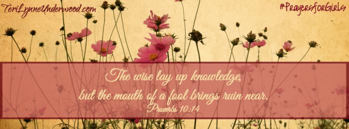 #PrayersforGirls    Proverbs 10:14    TeriLynneUnderwood.com