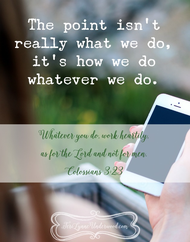 What if part of living the abundant life Christ has for us is choosing to do something instead of everything?