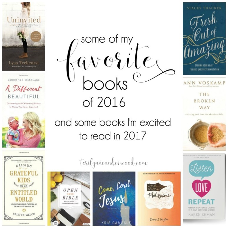 Some of my favorite books of 2016 from authors Stacey Thacker, Ann Voskamp, Kris Camealy, Denise J. Hughes, and more. {and a few of the books I can't wait to read in 2017!}