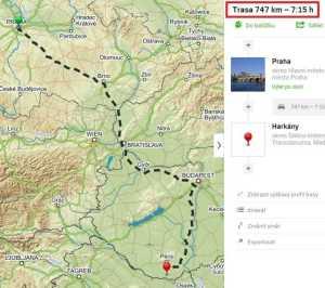 Vzdálenost a doba jízdy z Prahy do lázní Harkány
