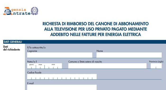 Canone Rai 2018 Rimborso Pagamento Anni Passati Modulo Per