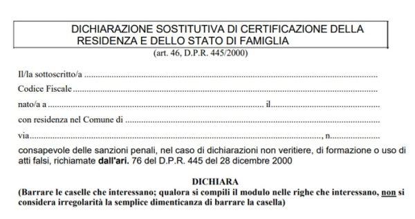 Modulo Autocertificazione Residenza E Stato Di Famiglia 2019