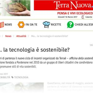 Articolo su Terra Nuova Tecnologia sostenibile marzo 2017