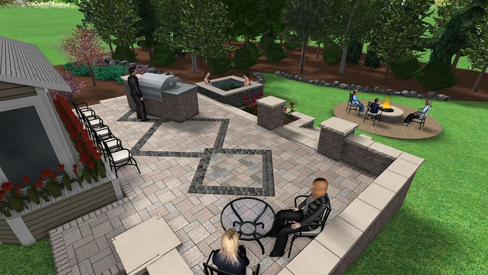 3d backyard patio design with grill