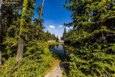 Trilha para um lindo lago do parque