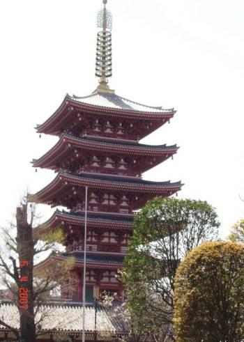Five-Tiered-Pagoda-Asakusa Kannon Temple Complex Ginza Tokyo Japan