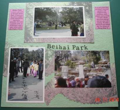 Scrapbooking design page for Beihai-Park-Beijing China
