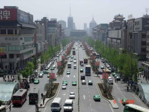 View-of-Main-Street-Xian-City taken from the Bell Tower
