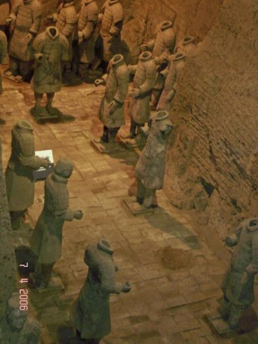 Army of Terracotta soldiers looking down into Pit 3 known as the command centre