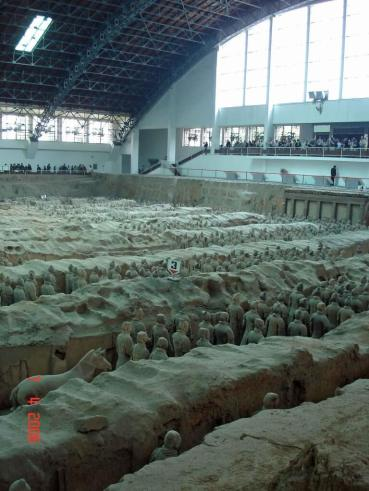 Side view across Pit 1 of Qin's army of terra cotta soldiers.