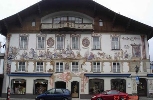 Oberammergau- traditional Bavarian Fairytale frescoes painted on the buildings