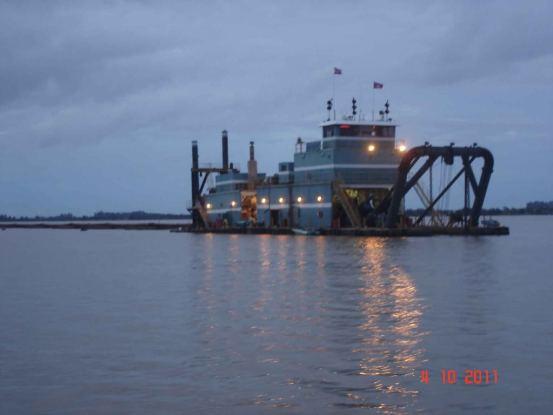 Working Dredge on Mekong river, Mekong cruise