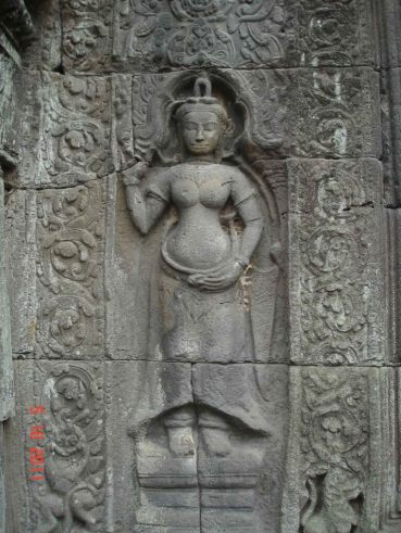 Ta Prohm Temple - detail of devata. Takeo