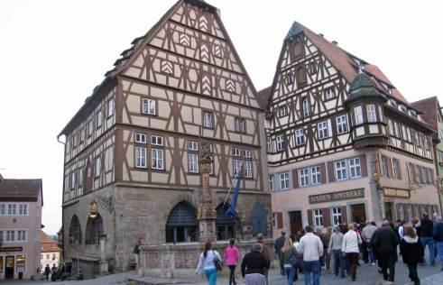 Two of the eye catching traditional timber framed houses-in Rothenburg