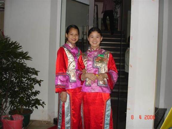 Chinese Restaurant - two charming young waitresses.Guilin