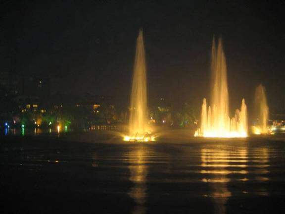 Guilin- Shen Lake - each fountain changing color and  swaying to classical music, Shen Lake Fountain.