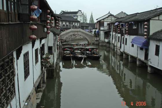 Peaceful canal scene,typical Ming and Qing Houses