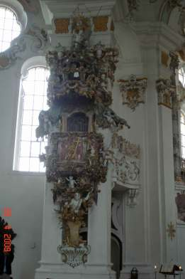 The Wies Church - The Pulpit crowned by the  eye of God