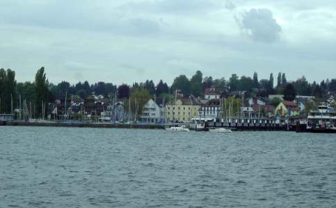 The town of Konstanz shoreline coming into view - romantic road Germany