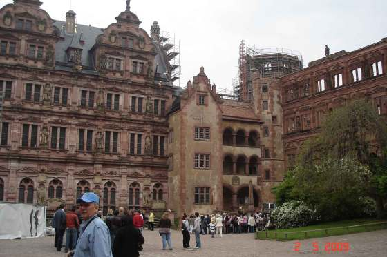 Left Frederick's building; Ruins of glass Hall building, Heidelberg Castle