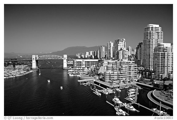 Black And White PicturePhoto Burrard Bridge Harbor And High Rise Residential Buildings
