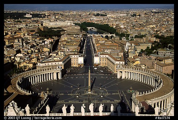 Piazza San Pietro seen from the Dome. Vatican City, Rome, Lazio, Italy (color)